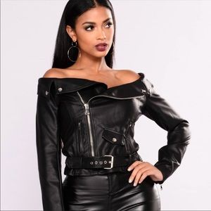 "Jackets & Blazers - Leather ""like"" off the shoulder motor jacket"